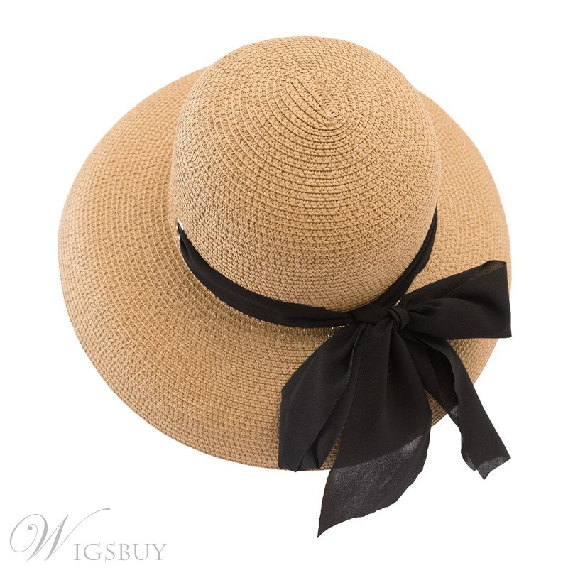 Casual Style Women's Plain Pattern Bowknot Straw Plaited Article Dome Crown Straw Hats