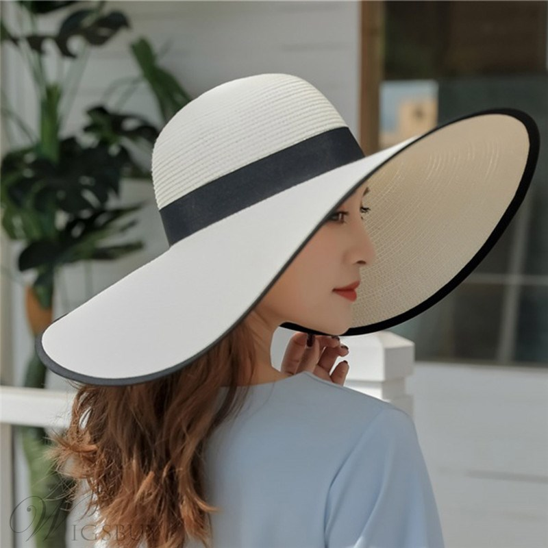 Women's Casual Style Plain Pattern Flat Brim Straw Plaited Article Dome Crown Straw Hat