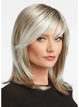 Medium Hairstyles Women's Blonde Color Straight Synthetic Hair Capless Wigs 16Inch