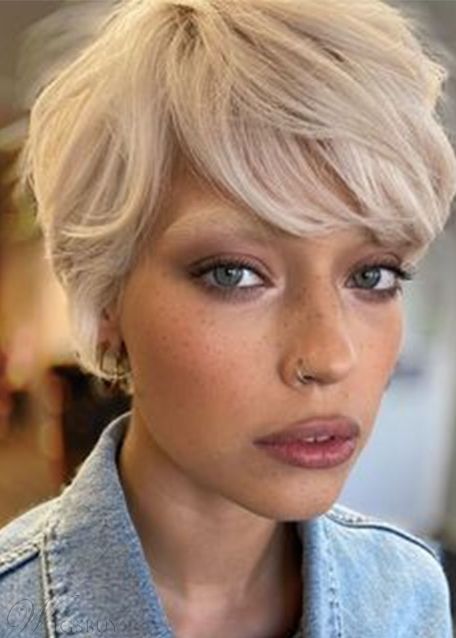 Women's Pixie Cut Short Hairstyles Straight Blonde Synthetic Hair Capless Wigs 8Inch