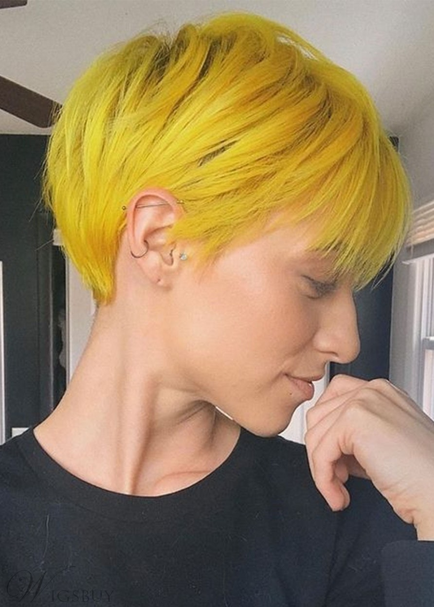Pixie Cut Short Hairstyles Women's Straight Synthetic Hair Capless Wigs 6Inch