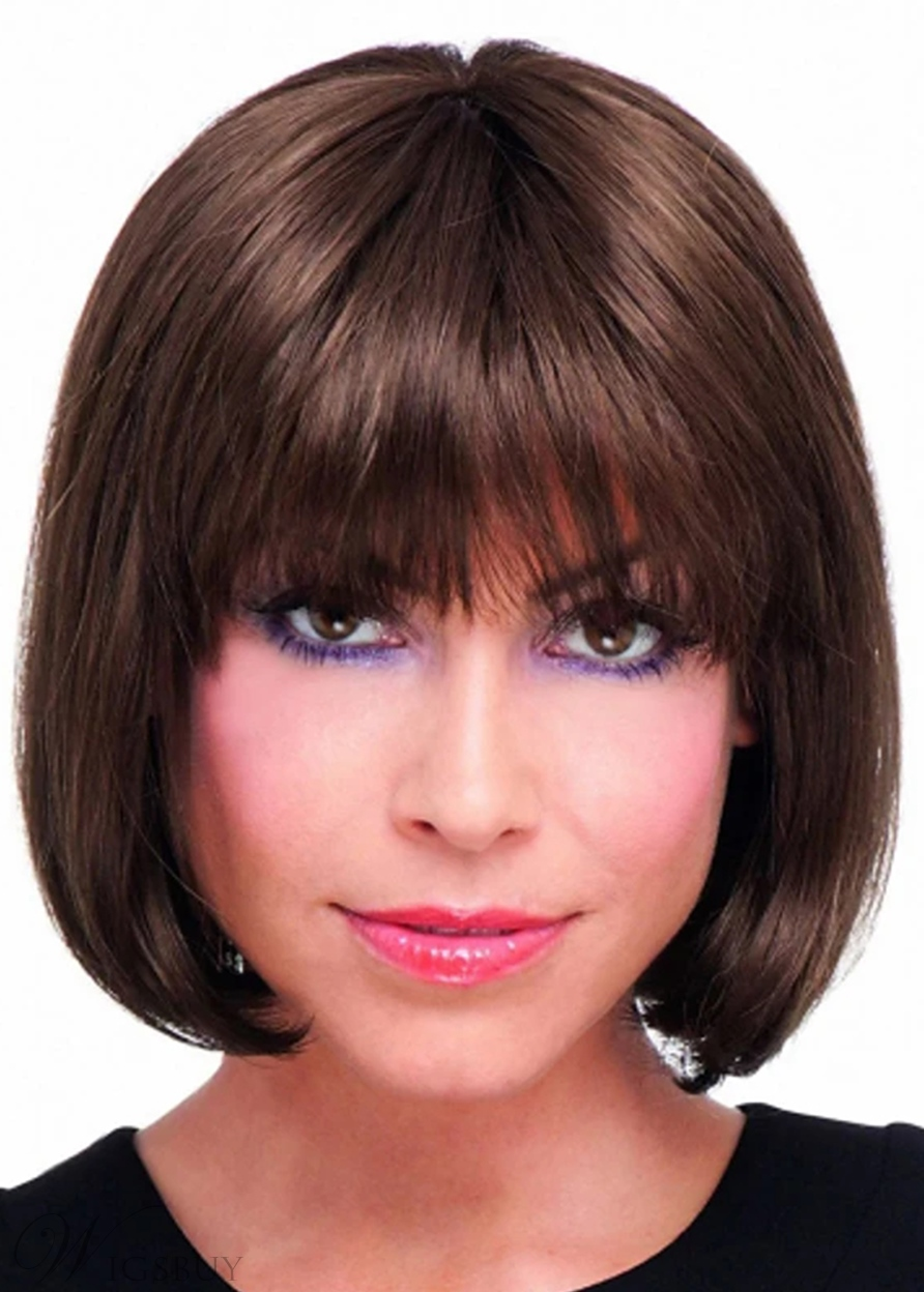 Women's Short Bob Hairstyles Straight Human Hair Wigs With Bangs Capless Wigs 12Inch