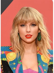 Taylor Swift Wavy Haircut Women's Straight Synthtic Hair WIth Bangs Capless Wig 12nches