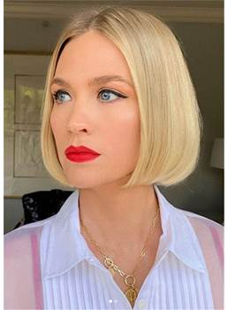 Medium Bob Women's Middle Part Natraight Straight Synthtic Hair Capless Wigs 12nches