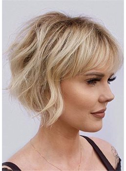 Summer Haircut Women's Layered Wavy Human Hair With Bangs Capless Wigs 12Inch