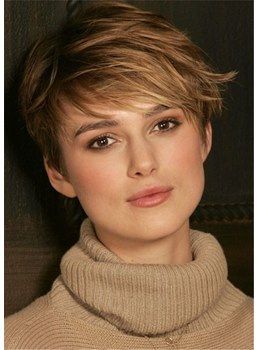 Pixie Cut Hairstyles Straight Human Hair Capless Wigs 8Inch