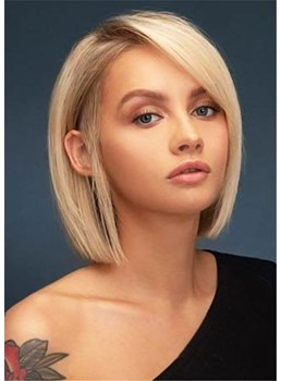 Medium Bob Hairstyles Women's Natraight Straight Synthtic Hair Capless Wigs 14Inches