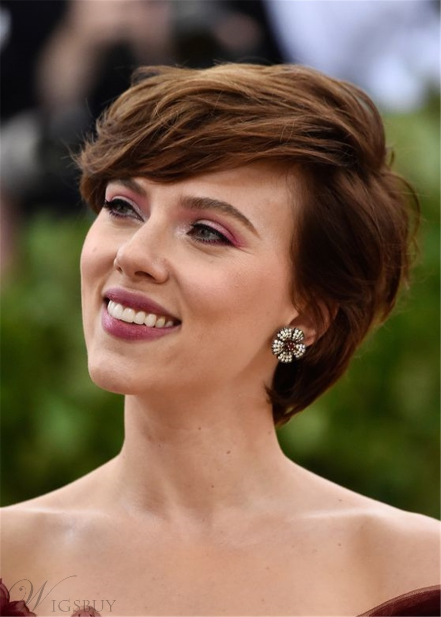 Scarlett Johansson Hairstyle Women's Layered Wavy Human Hair With Bangs Capless Wigs 12Inch