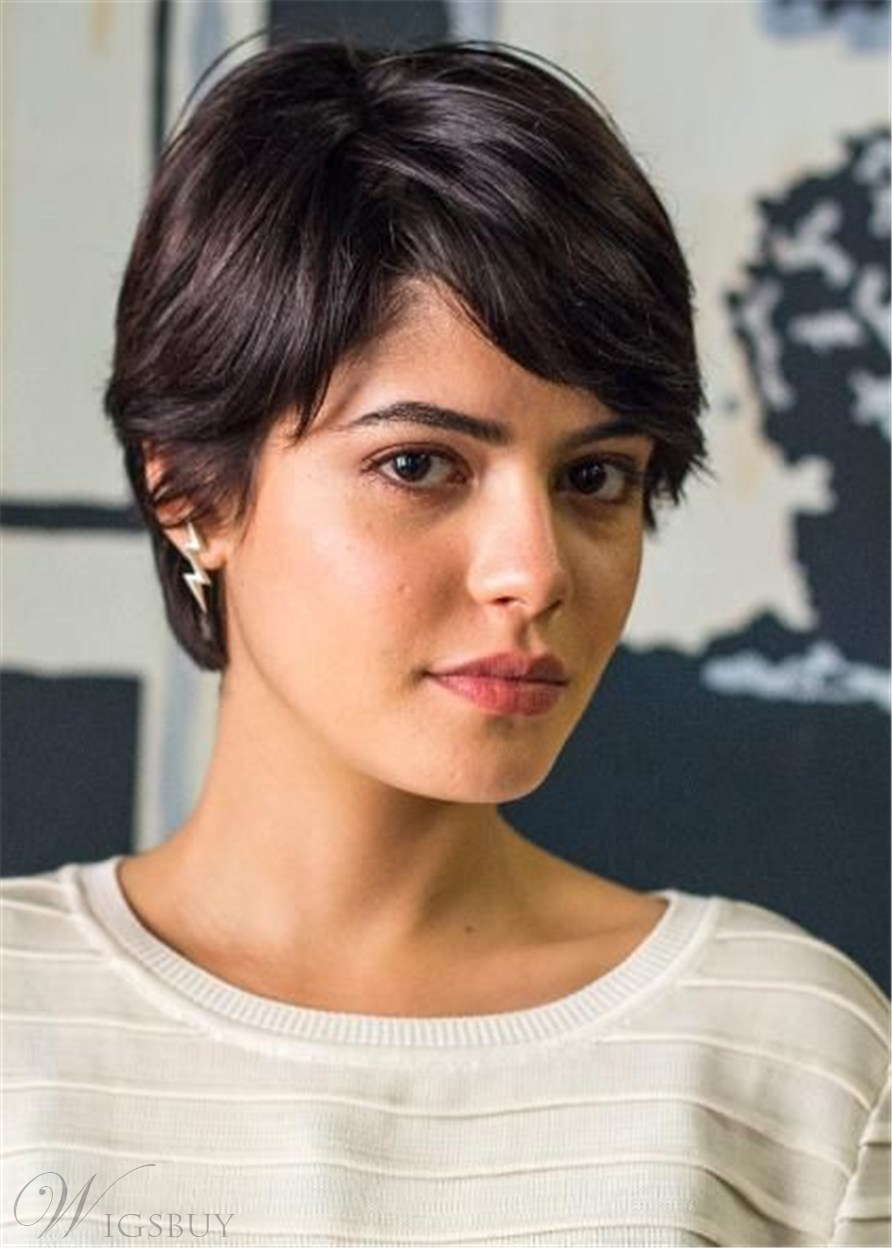 Short Layered Haircut Women's Straight Synthtic Hair Capless Wig With Bangs 8 Inches