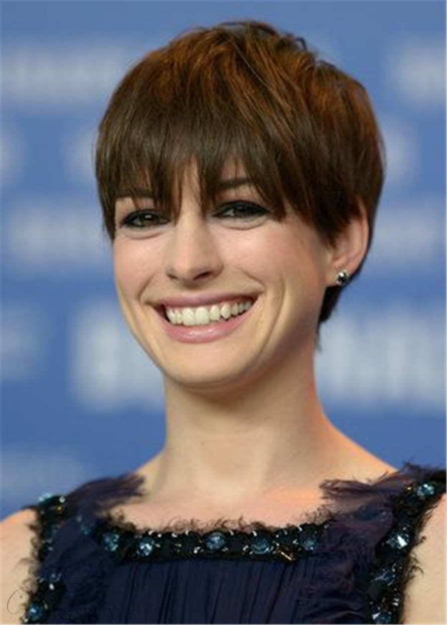 Anne Hathaway Pixie Cut Hairstyles Straight Human Hair With Bangs Capless Wigs 8Inch