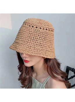 Casual Style Women's Plain Pattern Straw Plaited Article Campaniform Crown Hats