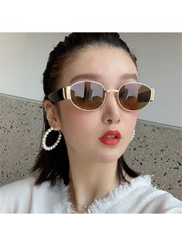 Vintage Style Women's Metal Ftame Resin Lens Oval Shape Sunglasses