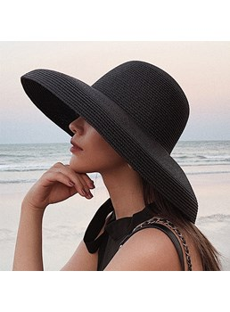 Women's Casual Style Plain Pattern Straw Platied Article Dome Crown Sun Hats