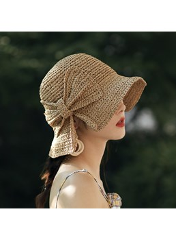 Casual Women's Plain Pattern Bowknot Straw Plaited Article Campaniform Straw Hats