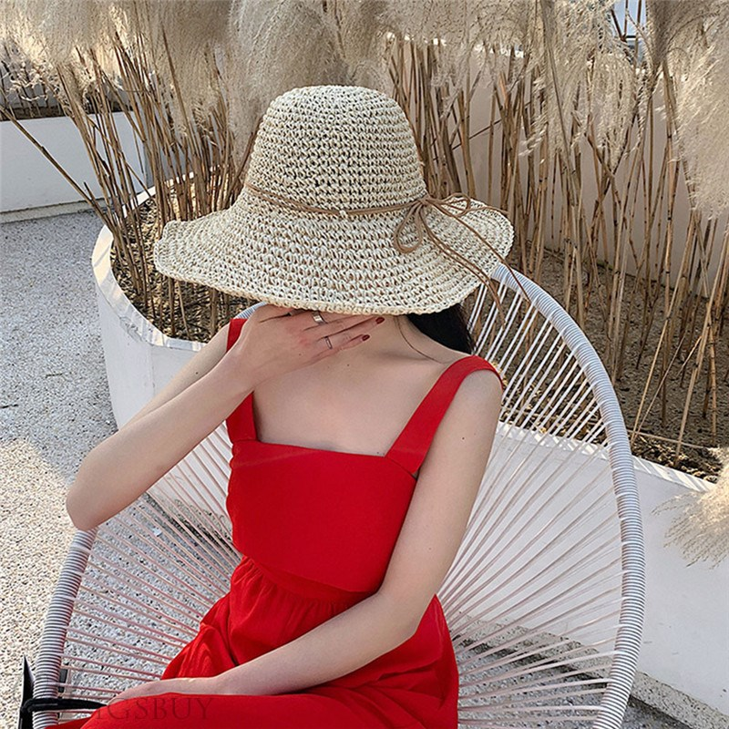 Women's Casual Style Plaid Pattern Bowknot Straw Plaited Article Dome Crown Straw Hat