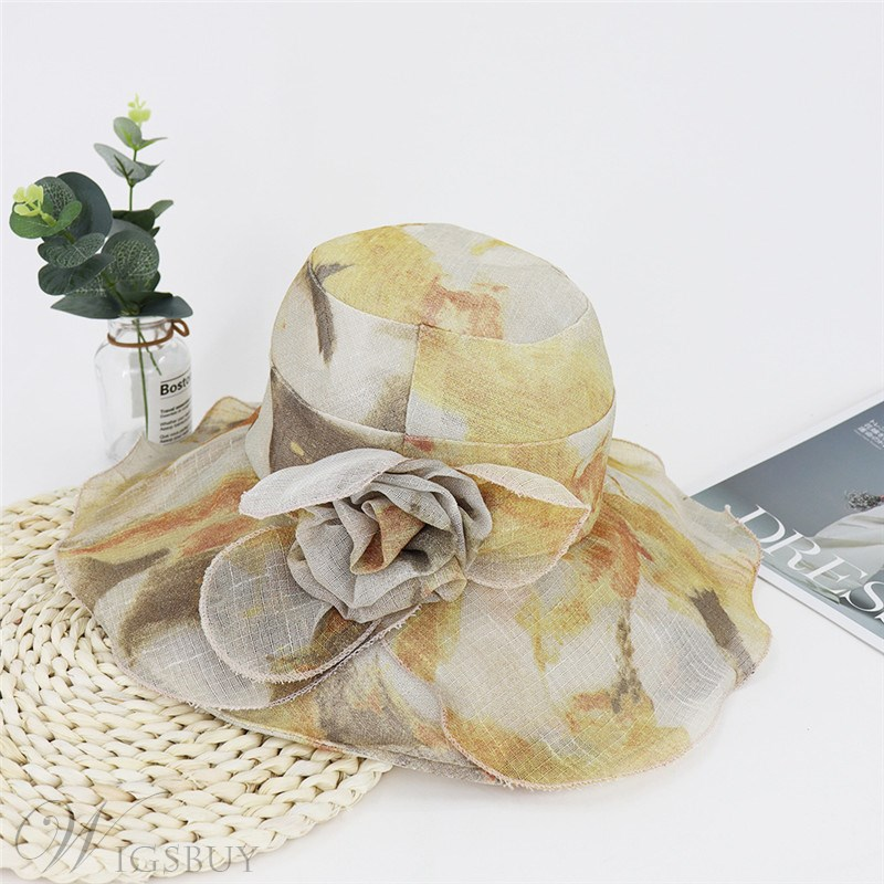 Women's Casual Style Floral Pattern Bowknot Wide Brim Dome Crown Sun Hat
