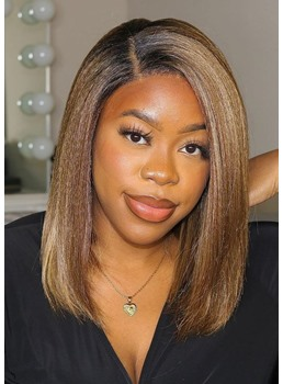 Women's Medium Bob Hairstyles Straight Human Hair Lace Front Cap Wigs 14Inch