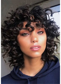 Untraditional Lob Haircut Curly Synthetic Hair Capless Wigs 12Inch