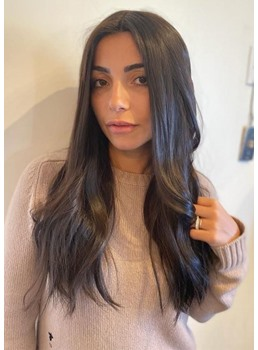 Women's Natural Looking Long Length Straight Human Hair Capless Wigs 26Inch