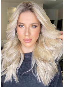 Natural Looking Women's Blonde Color Long Wavy Human Hair Lace Front Cap Wigs 24 Inch
