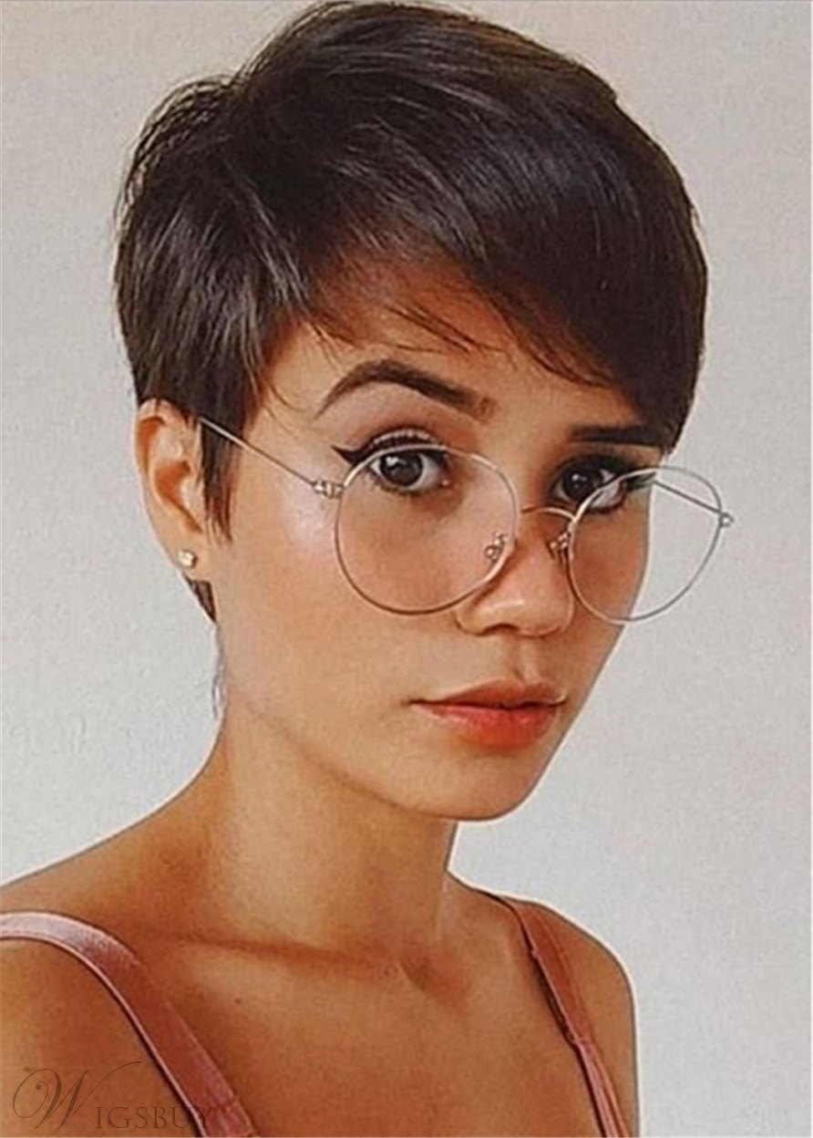 Chic Pixie Cuts Hairstyle Natural Straight Human Hair With Bangs Capless Wigs 10Inch