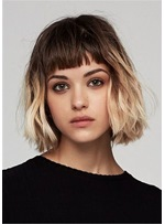 Mix Color Bob Hairstyles Natural Wavy Synthetic Hair WIth Bangs Capless Wigs 14Inch