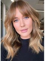 Mix Color Long Wavy Human Hair With Bangs Lace Front Cap Wigs 18 Inch