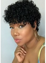 Short Pixie Cut Curly Hairstyle Human Hair Capless Wigs For African American Women 6Inch