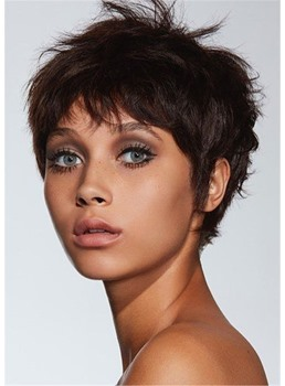 Pixie Cuts Hairstyles Wavy Human Hair Lace Front Cap Women Wigs 10 Inch