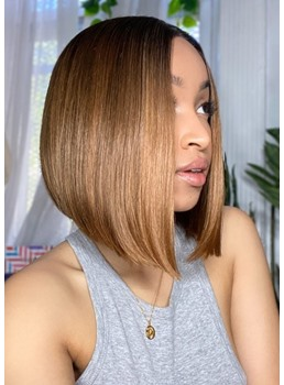 Short Bob Hairstyles Women's Blonde Bob Style Straight Human Hair Capless Wigs 8Inch