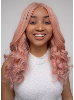 Fashion Women's Light Pink Color Loose Wave Synthetic Hair Capless Wigs 22Inch