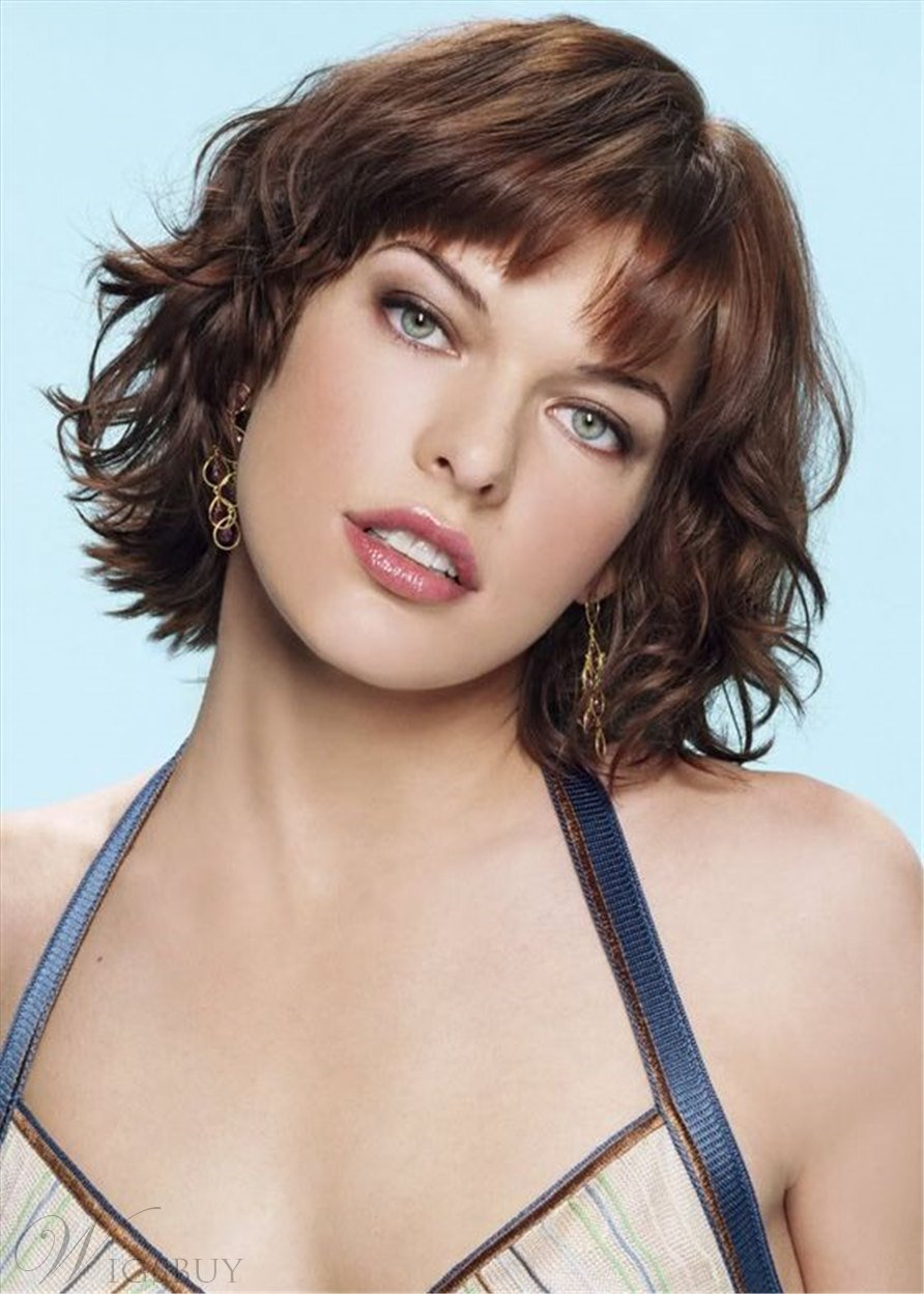 Women's Medium Bob Wavy Human Hair With Bangs Capless Wigs 14 Inch