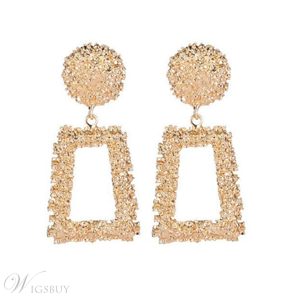 Women/Ladies Korean Style Geometric Pattern E-Plating Technic Alloy Material Drop Earrings