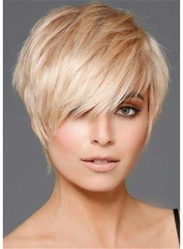 Short Layered Hairstyle Natural Straight Human Hair Capless Women Wigs 10Inch