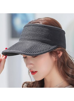 Korean Style Women's Plain Pattern Adjustable Strap Wide Brim Straw Plaited Article Visor Crown Sun Hats