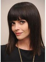 Women's Long Length Hairstyle Straight Synthetic Hair With Bangs Capless Wigs 18Inch