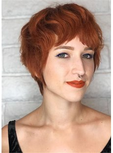 Pixie Haircuts for Women Natural Straight Human Hair With Bangs Capless Wig 10Inch