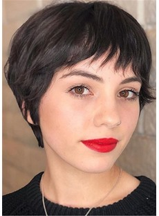 Pixie Haircuts for Thick Hair Natural Straight Human Hair With Bangs Capless Wig 10Inch