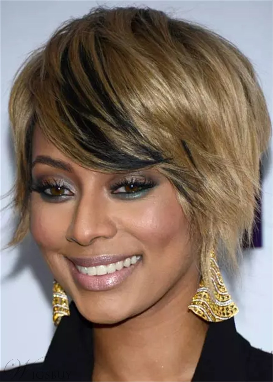 African American Wigs Stacked Inverted Bob Synthetic Straight Hair With Lowlights 12 Inches