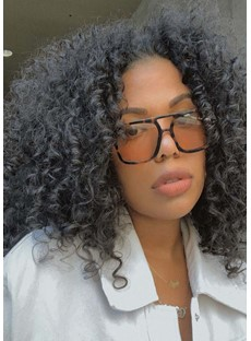 Medium Hairstyles African American Women's Afro Curly Human Hair Capless Wigs 14Inch