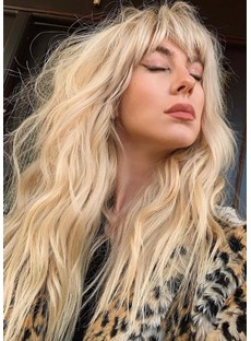 Natural Looking Women's Long Length Blonde Color Wavy Synthetic Hair Capless Wigs 24Inch