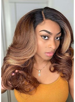 African American Women's Ombre Color Wavy Human Hair Lace Front Wigs 18Inch