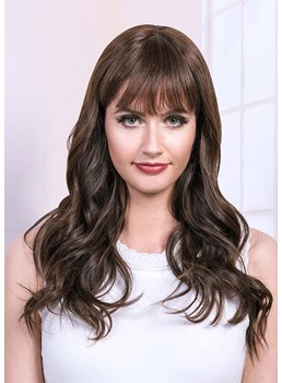 Natural Looking Women's Long Length Wavy Human Hair Wigs With Bangs Capless Wigs 26Inch