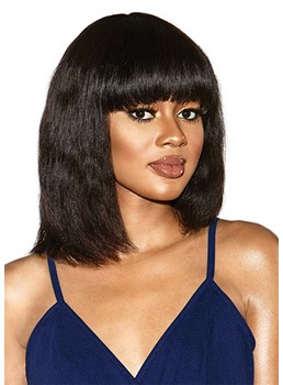 Women's Medium Bob Hairstyles Natural Straight Human Hair Capless Wigs With Bangs 14Inch