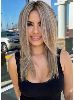 Women's Medium Hairstyles Natural Straight Middle Part Synthetic Hair Capless Wigs 20Inch