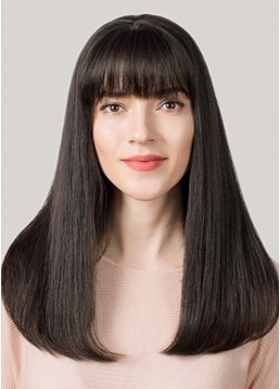 Women's Long Straight Bob Hairstyles Straight Human Hair Capless Wigs With Bangs 26Inch
