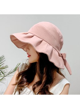 Women's Summer Casual Style Bowknot Plain Pattern Wide Brim Dome Crown Bucket Hats