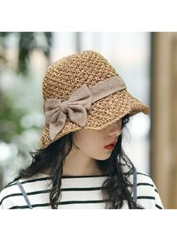 Lady/Women's Casual Summer Style Bowknot Embellishment Wide Brim Type Sun Hats