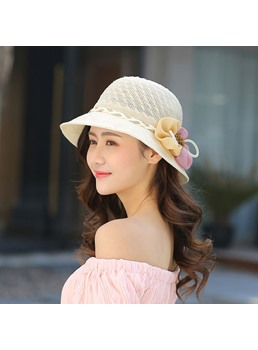 Casual Style Women/Ladies Patchwork Bowknot Embellishment Wide Brim Type Sun Hat For Summer