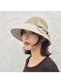 Women's Casual Style Bowknot Color Block Pattern Wide Brim Type Dome Crown Sun Hats